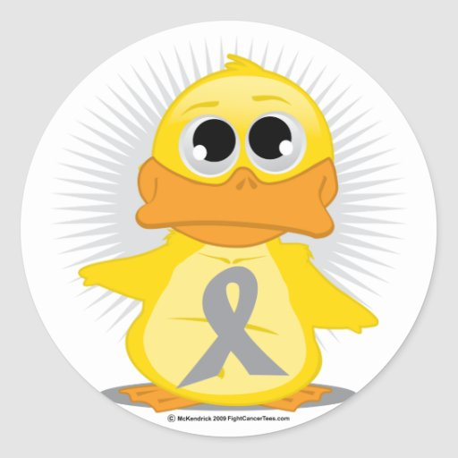 Grey/Silver Ribbon Duck Round Sticker