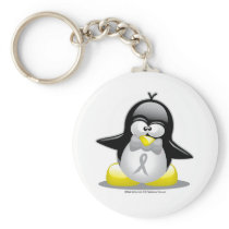 Grey/Silver Ribbon Penguin Keychain