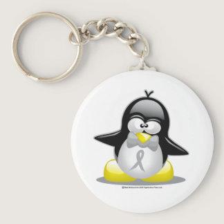Grey/Silver Ribbon Penguin Keychain