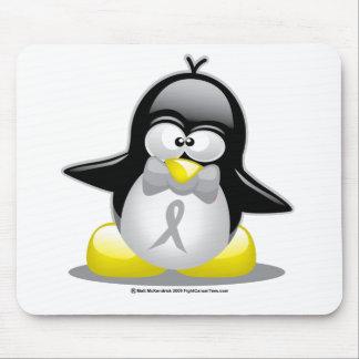 Grey/Silver Ribbon Penguin Mouse Pad
