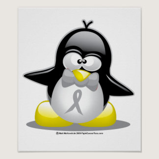 Grey/Silver Ribbon Penguin Poster