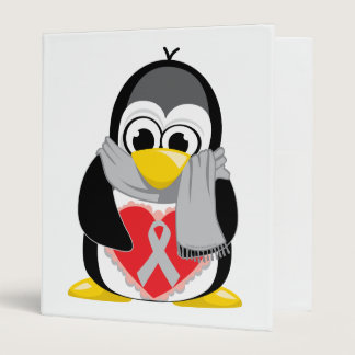 Grey/Silver  Ribbon Penguin Scarf Binder