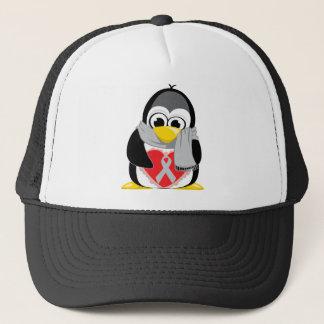 Grey/Silver  Ribbon Penguin Scarf Trucker Hat