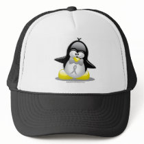 Grey/Silver Ribbon Penguin Trucker Hat