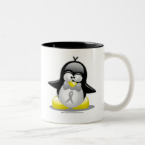Grey/Silver Ribbon Penguin Two-Tone Coffee Mug