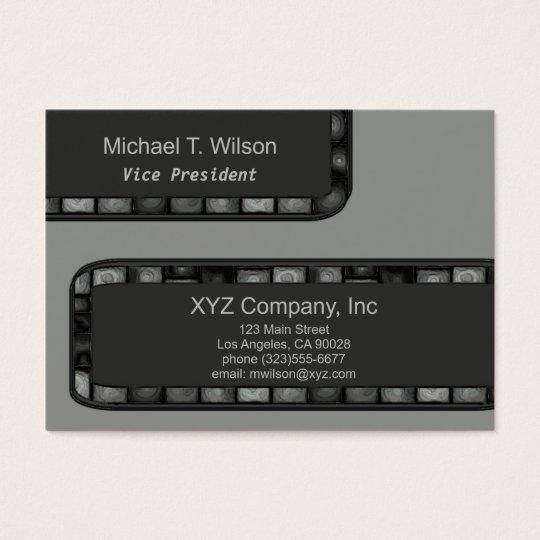 Grey Silver Tile Border Business Card