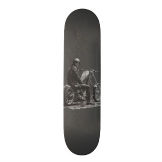 Grey Skate Deck with Chopper Motorcycle Rider
