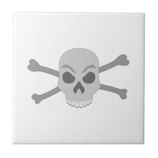Grey Skull and Crossbones Tile
