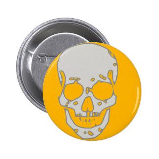 Grey skull pinback button