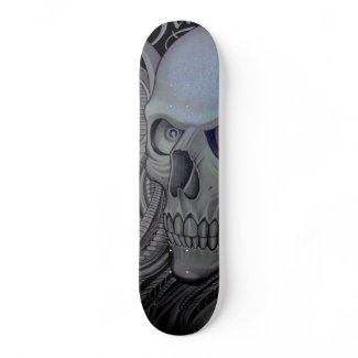 grey skull skateboard