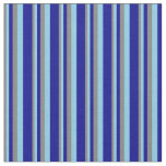 [ Thumbnail: Grey, Sky Blue, and Dark Blue Striped Pattern Fabric ]