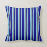 [ Thumbnail: Grey, Sky Blue, and Dark Blue Striped Pattern Throw Pillow ]