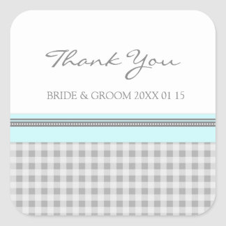 Grey Sky Blue Gingham Thank You Wedding Favor Tags