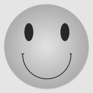 Grey Smiley Round Stickers