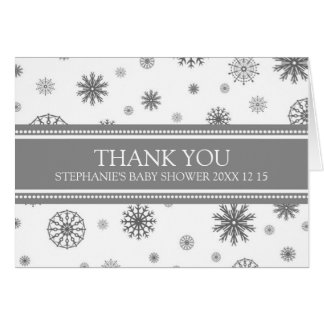 Grey Snow Winter Baby Shower Thank You Card