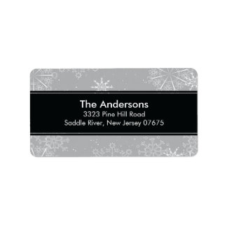 Grey Snowflakes Winter Holiday Return Address Personalized Address Labels