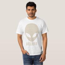 Grey Space Alien BELIEVE T Shirt