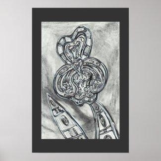 Grey Space Iris print print