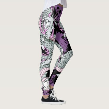 USA Themed Grey Splash Tattoo Dragon on Purple Leggings