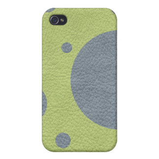 Grey Spots on Lime Green Leather iPhone 4 Case