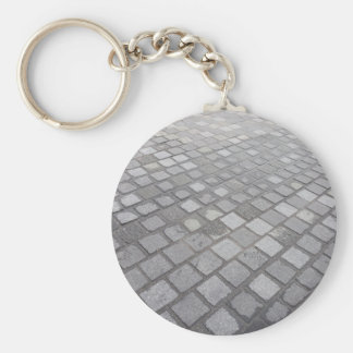 Grey Square Paving Background Keychain