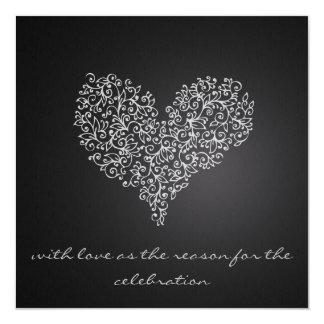 "grey square wedding invitation ""with love"""