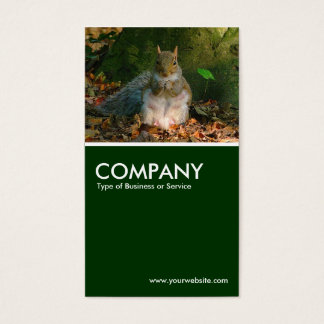 Grey Squirrel - Dark Green Business Card