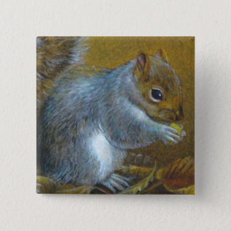 Grey squirrel fine art painting button/badge button