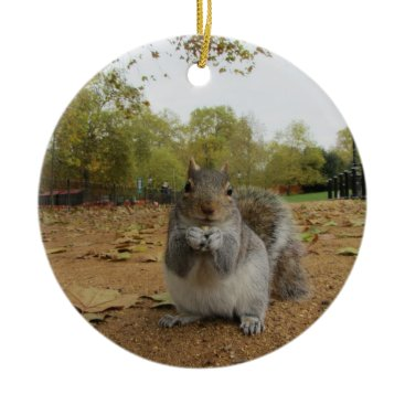 Beach Themed Grey Squirrel Hyde Park. Ceramic Ornament