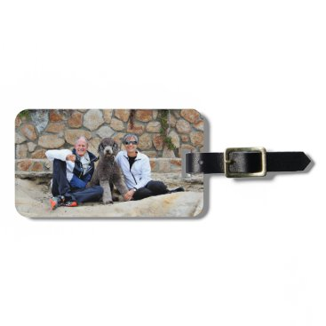 Beach Themed Grey Standard Poodle Dog enjoys Carmel Beach Bag Tag