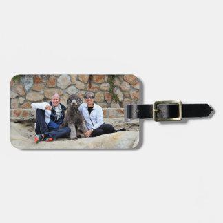 Grey Standard Poodle Dog enjoys Carmel Beach Luggage Tag