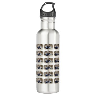 Beach Themed Grey Standard Poodle Dog enjoys Carmel Beach Stainless Steel Water Bottle