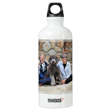 Beach Themed Grey Standard Poodle Dog enjoys Carmel Beach Water Bottle