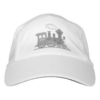 Grey steam train personalized hat