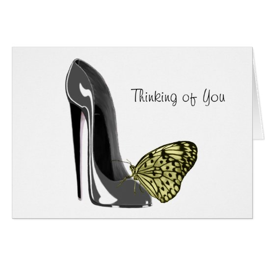 Grey Stiletto Shoe and Yellow Butterfly Gifts Card