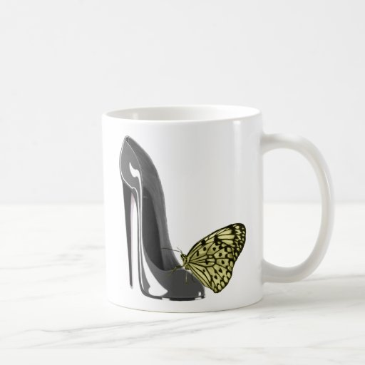 Grey Stiletto Shoe and Yellow Butterfly Gifts Coffee Mug