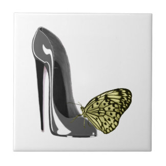 Grey Stiletto Shoe and Yellow Butterfly tile