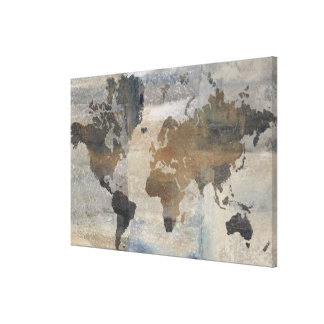 Grey Stone Map Of The World Canvas Print