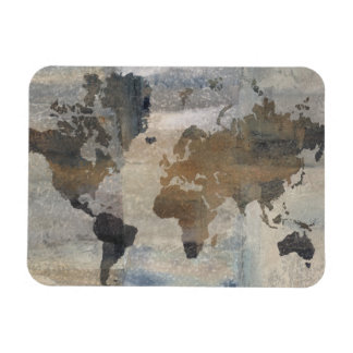 Grey Stone Map Of The World Magnet