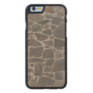 Grey stone wall texture carved maple iPhone 6 slim case