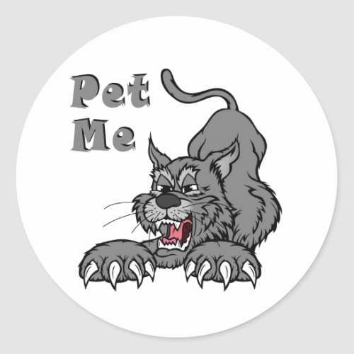 Grey stretching cat classic round sticker