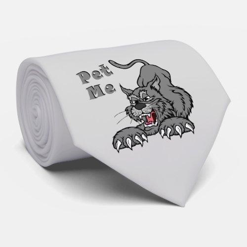 Grey stretching cat neck tie