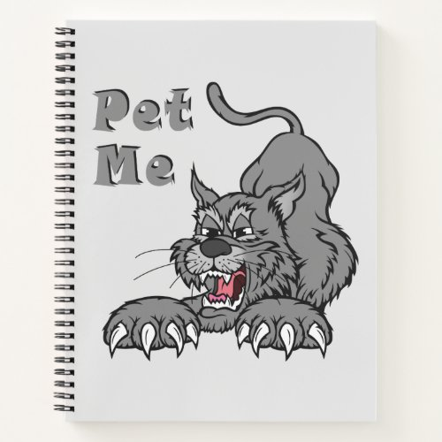 Grey stretching cat notebook