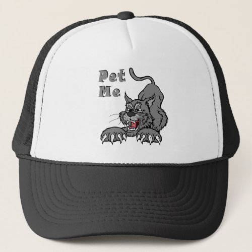 Grey stretching cat trucker hat