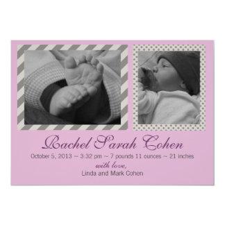 Grey stripe Birth Announcement
