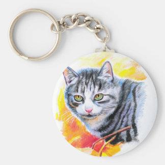 Grey Striped Cat Keychain