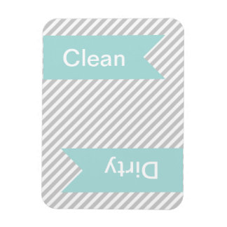 Grey Striped Clean - Dirty Dishwasher Magnets