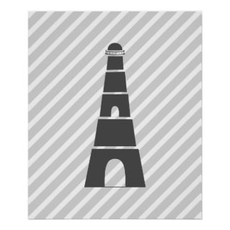 Grey Striped Nautical Lighthouse Poster