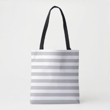 Beach Themed Grey Striped Tote Bag