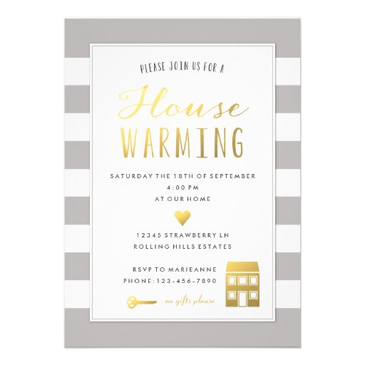 Grey Stripes - Gold House Warming Party Invitation